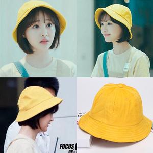 黄色小清新渔夫帽子女夏学生韩版可爱百搭chic日系文艺小丸子帽子