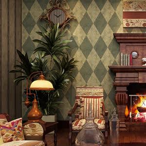 米泰欧式墙纸 复古宫廷仿大理石纹菱形<span class=H>壁纸</span> 卧室客厅电视墙纸美式