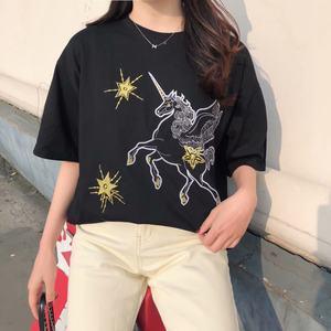 2019夏季新品 时尚复古卡通刺绣 宽松显瘦短袖<span class=H>T恤</span> 上衣 女