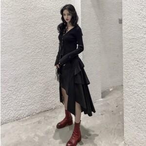 JIANGJIANG不规则半身裙女高<span class=H>腰包</span>臀裙冬蛋糕裙黑色中长款a字裙子