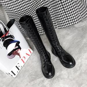 2018韩版新款冬款低跟不过膝长靴女系带<span class=H>高筒靴</span>帅气圆头骑士靴女