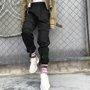 欧美2018爆款<span class=H>女装</span>新款潮流口袋绑带扣工装休闲裤束脚裤