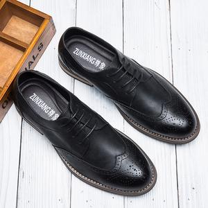 冬季布洛克雕花<span class=H>男鞋</span>英伦风商务休闲皮鞋男士内增高透气<span class=H>鞋子</span>男6cm