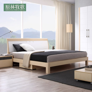 原林现代简约特价板式双人成人床高箱储物柜木质家具带1.8米1.5米