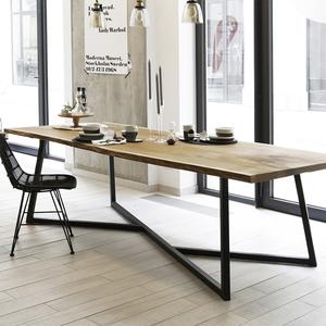 美式大型loft会议桌长桌简约现代实木桌铁艺长条桌子工业风<span class=H>办公桌</span>