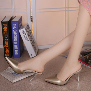 凉拖鞋女士夏半拖尖头包头凉鞋细跟性感中跟时尚外穿2019新款高跟