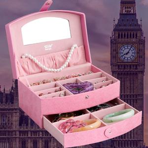 首饰盒公主欧式韩国饰品盒收纳盒<span class=H>珠宝</span>耳钉盒儿童可爱绒布耳环手表