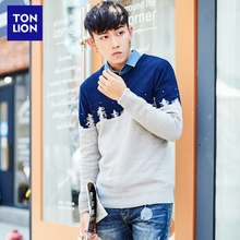Tangshi Winter Dress New Men's Sweater Double-color Jacquard Collour Knitted Sweater Round-neck Sleeve Sweater Tide