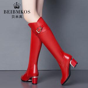 品牌秋冬女靴加绒高跟粗跟中长筒靴百搭显瘦皮靴真皮红色黑色长靴