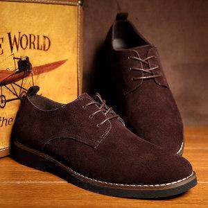 冬季加绒保暖<span class=H>反</span><span class=H>绒皮</span><span class=H>男鞋</span><span class=H>真皮</span>低帮休闲鞋皮鞋英伦风磨砂皮潮鞋板鞋