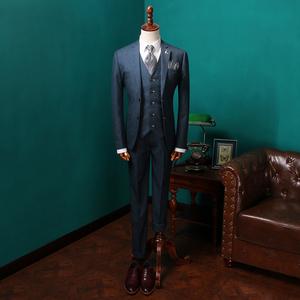 克洛本<span class=H>男装</span>定制三件套商务绅士修身<span class=H>西服</span>套装英伦复古蓝色结婚西装