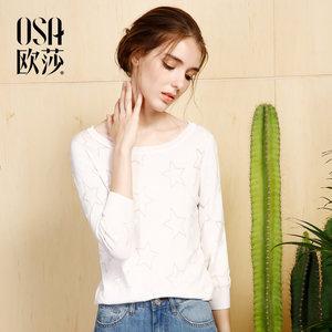 <span class=H>OSA</span><span class=H>欧莎</span>2017<span class=H>夏</span>装新款女装简约星星图案 九分袖针织衫女B16019
