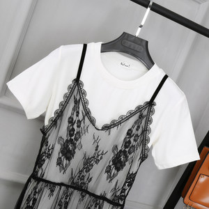 大码中长款女士吊带连衣裙外搭春夏网纱裙衣蕾丝打底透明背心<span class=H>罩衫</span>